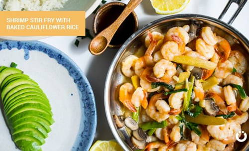 Shrimp Stir Fry with Baked Cauliflower Rice